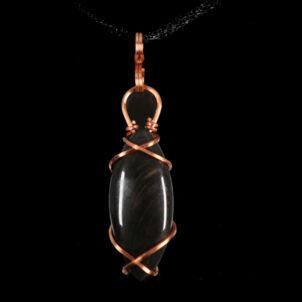 Sheen Obsidian Copper Pendant
