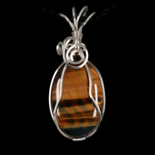 Tiger Eye Silver Plated Pendant